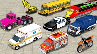 Learn ABC Alphabets With Street Vehicles For Kids - Learn A to Z With Construction Vehicles Toys