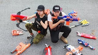 Game Nerf War : Winter Warriors Nerf Guns | Fight Criminal Group Rescue The Warrior