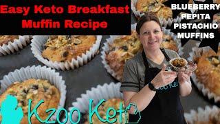 Keto Blueberry Pepita Pistachio Breakfast Muffins - Best Keto Muffin!