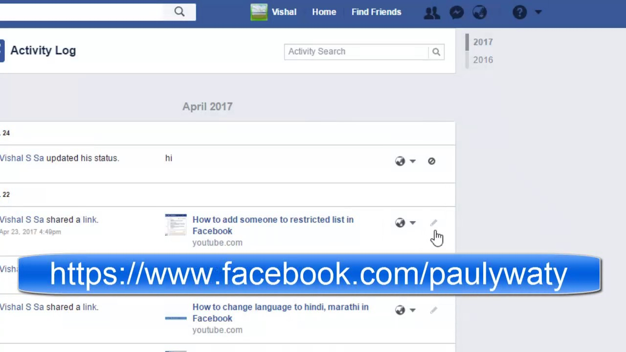 How to delete certain activity in timeline in Facebook - YouTube