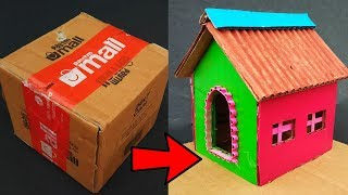 Make beautiful House from cardboard / How to make a small cardboard house.