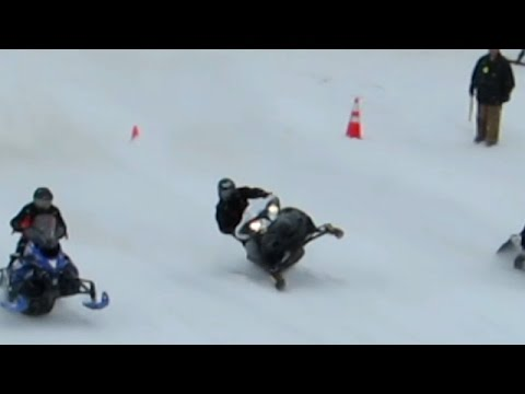 Snowmobile Drag Racing Almost Loses It