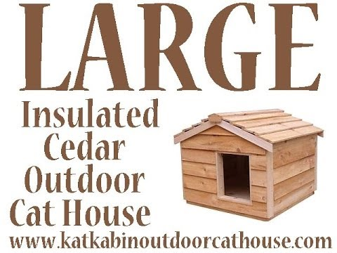 Large Insulated Cedar Outdoor Cat House with Two Lounging Decks