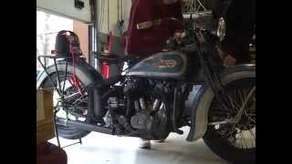 Starting 1936 Harley VLH For Motorcycle Cannonball