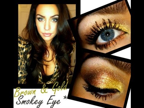 Brown and Gold Smokey Eye Makeup Tutorial
