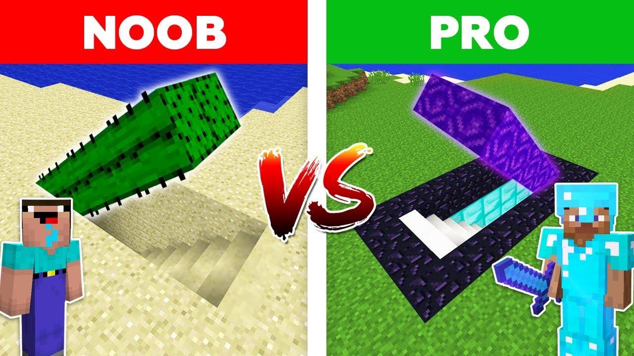 Minecraft NOOB vs PRO: PORTAL SECRET BASE in Minecraft!
