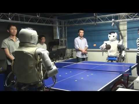 Robot plays table tennis (vs Robot, vs Human)