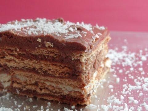 Tarta de galletas con chocolate / Tarta de la abuela -- Ideal para cumpleaños infantiles