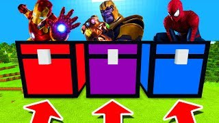 Minecraft PE : DO NOT CHOOSE THE WRONG CHEST! (Iron Man, Thanos & Spiderman)