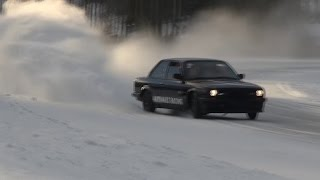 BMW E30 TURBO 300HP / SUBARU WRX 500HP ICE DRIFT!