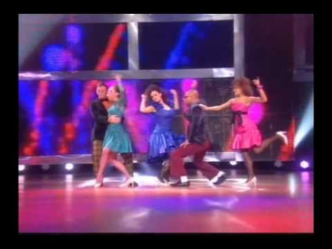 Hollyoaks cast perform Footloose on BBC Let's Dance For Comic Relief, Loui Batley(Sarah Barnes) Garnon Davies(Elliot Bevan) Ricky Whittle(Calvin Valentine) N...