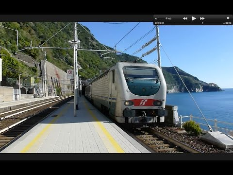Trains on the Cinque Terre in Italy