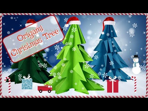 How To Make an origami Christmas Tree- EASY step by step paper Christmas Tree.
