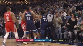 Rockets and Timberwolves Get Into Big Team Fight | Rockets vs Timberwolves 2018|