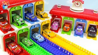 Learning Color Disney Cars Lightning McQueen and Vehicle rainbow slide play funny video for kids