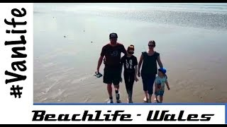 Family Vanlife trip exploring beach in Wales - ExploreVan.uk