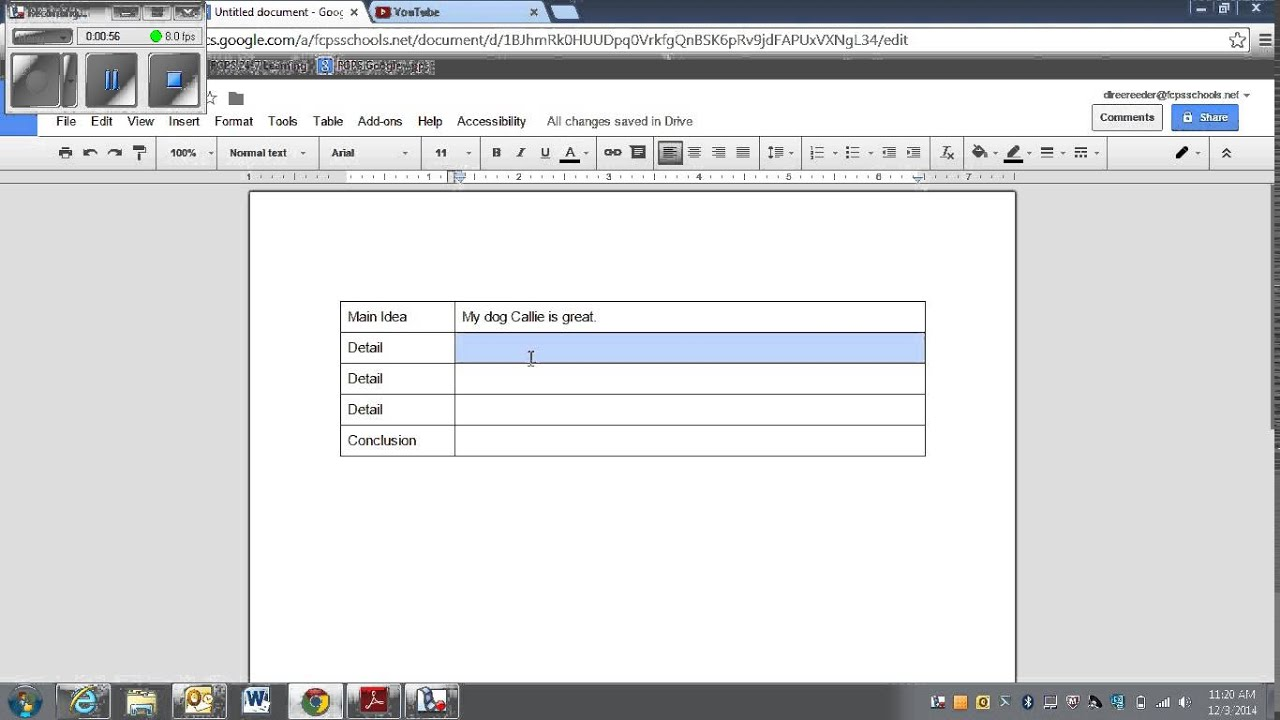 Table Graphic Organizer as a Graphic Organizer in