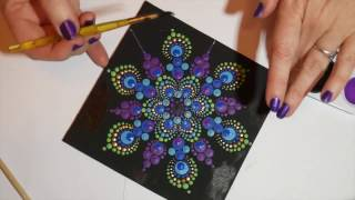 How to paint dot mandalas with Kristin Uhrig #6- Peacock design