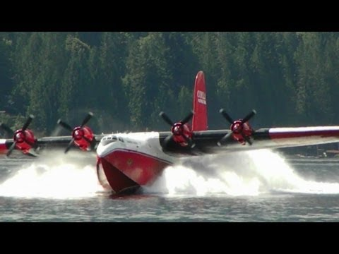 Martin Mars Water Bomber  Seaplane Landing in Slow Motion ☆☆☆☆☆