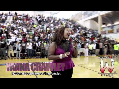 Yanna Crawley sings National Anthem @ Goodman Charity Game