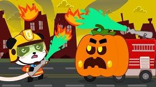 Action! Halloween Fire Truck | Halloween Party | Halloween Cartoon | Halloween Costumes | BabyBus