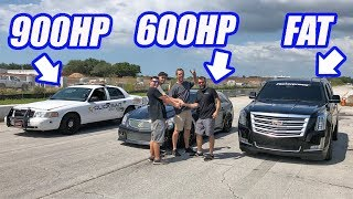 Crown Vic Owner Shows Up To The Track Uninvited...And Leaves In Tears! (Escalade vs Everyone)