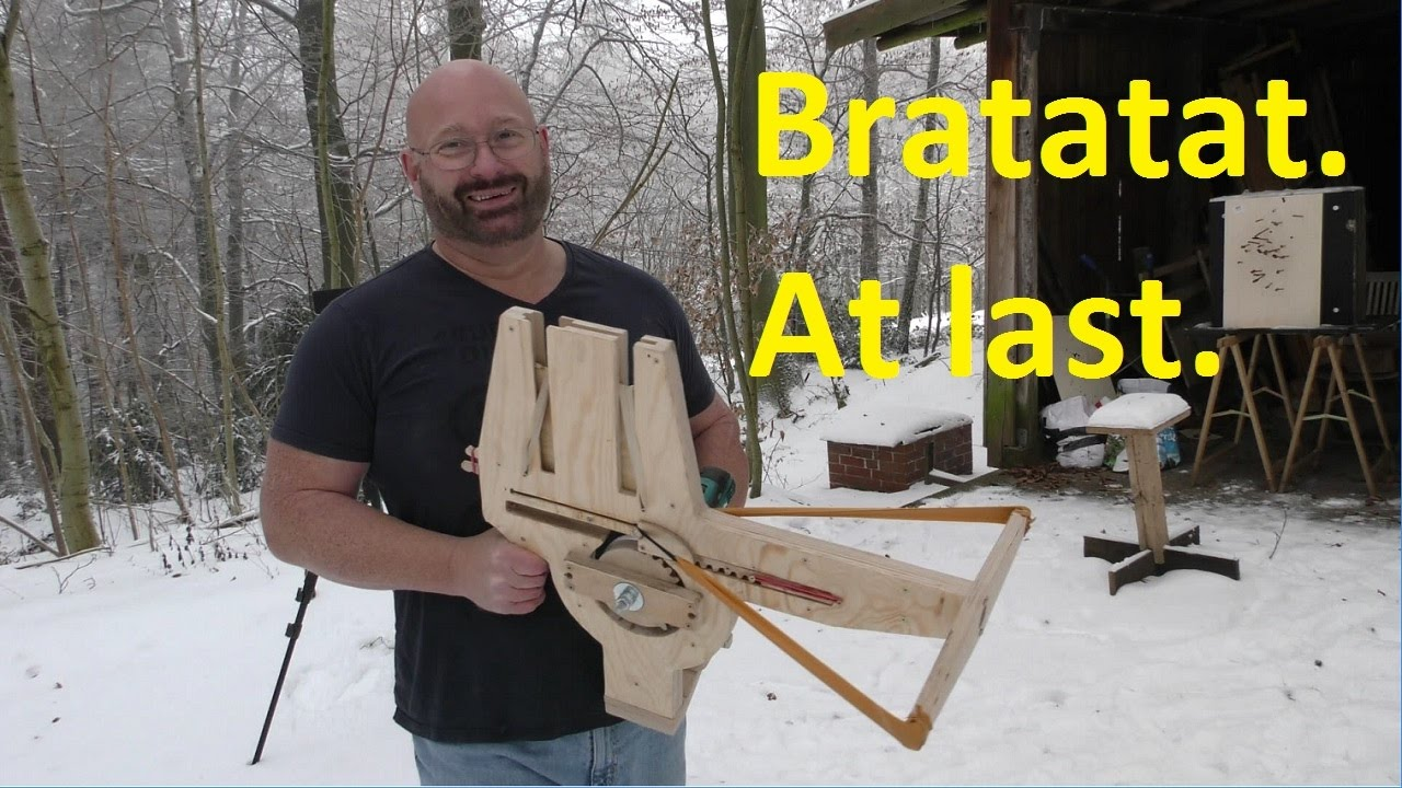 [Enthusiastic Dude Invents A Fully Automatic Crossbow And Absolutely Loves It] Video