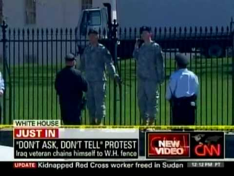 hqdefault Military Men Chained Themselves To White House Fence Against DADT Repeal