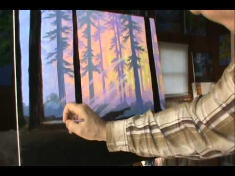 Как рисовать лес 11 на закате