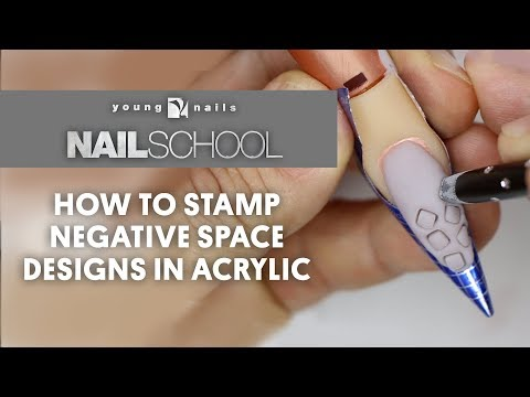 YN NAIL SCHOOL -  HOW TO STAMP NEGATIVE SPACE DESIGNS IN ACRYLIC