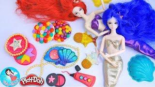 Play Doh ปั้นแป้งโดว์เครื่องสำอางนางเงือกใต้ทะเล สอนปั้นแป้งโดว์ ปั้นดินน้ำมัน Play Doh Makeup Set