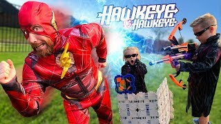 Hawkeye vs Hawkeye Nerf Bow Challenge & Super Hero Gear Test! (Future Flash Returns) | KIDCITY