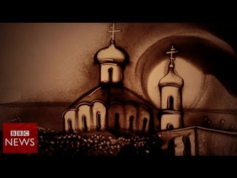 Crimean sand artist troubled by Ukraine violence - BBC News