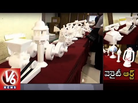 Thermocol Carving Artist Sayeed Exhibits His Art In Hyderabad | V6 News