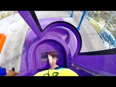 Rapids Water Park - Purple Brain Drain [NEW 2016] SuperLOOP Trapdoor Slide
