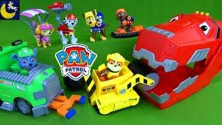 Paw Patrol Toys Stolen by Dinosaur Dinotrux Ty Rux Lifeguard Pups Rocky Dump Truck Rubble Marshall!