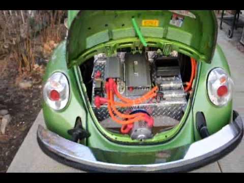 GO GREEN Electric VW Bug Rebirthauto 96Volt Kit #001 in car - YouTube