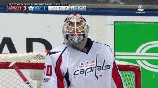 Braden Holtby Makes a Unreal Poke Check At The Blue Line