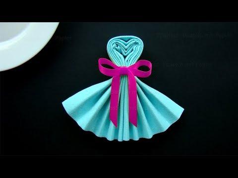 Servietten falten: Kleid - Tischdeko basteln mit Papier-Servietten. Einfache DIY Deko