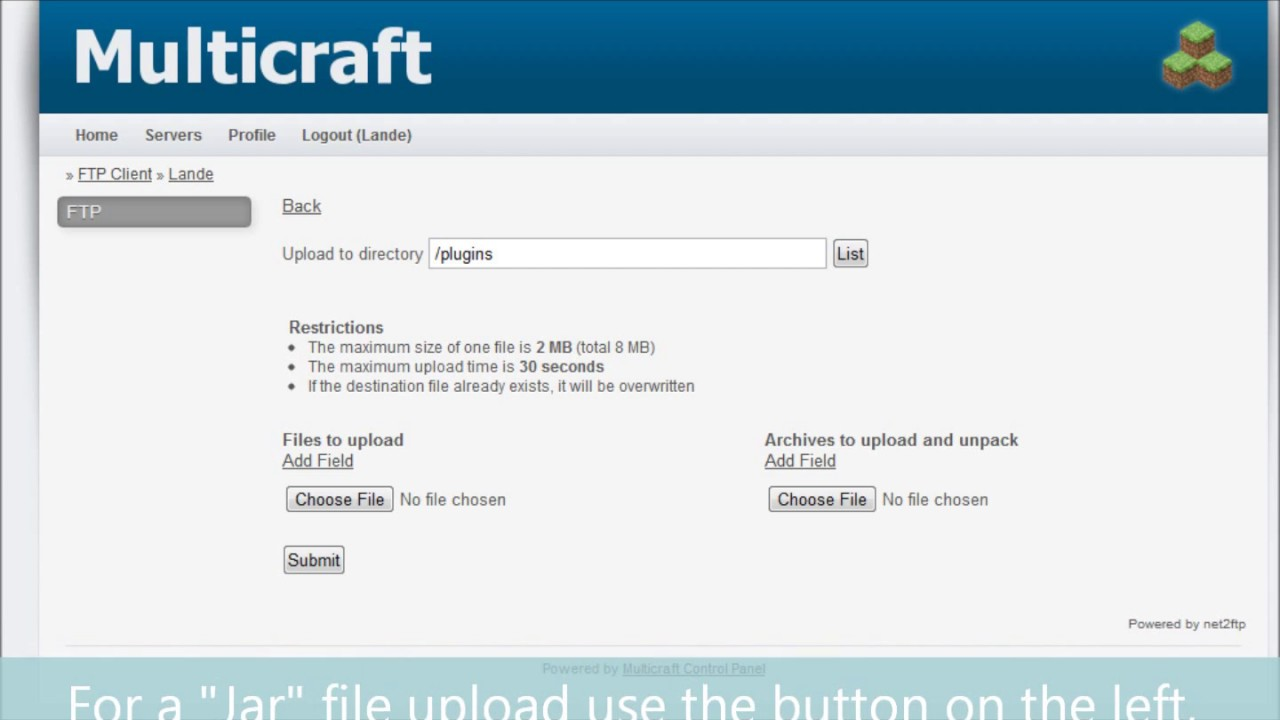 How to upload plugins to MultiCraft [Minecraft] - YouTube Multicraft