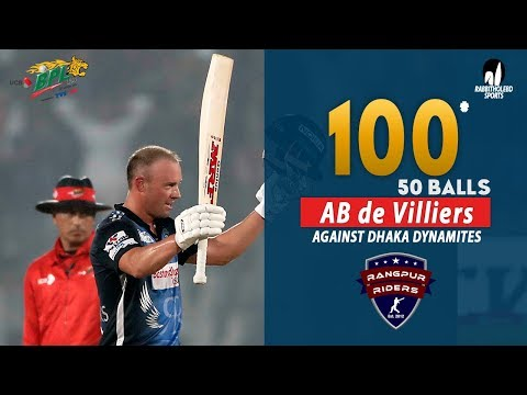 🔥 AB de Villiers's 100 Run Against Dhaka Dynamites || 34th Match || Edition 6 || BPL 2019