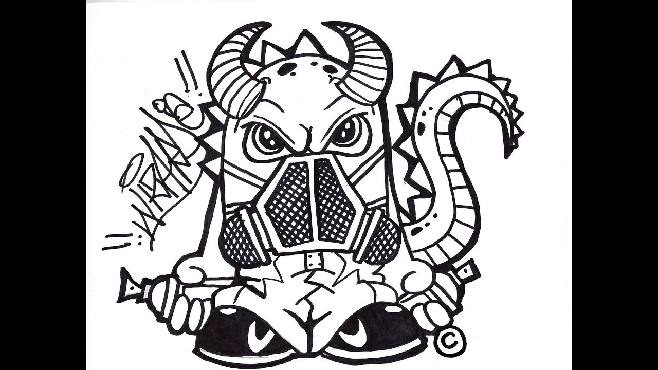 Gas Masks Drawing a Dragon With a Gas Mask