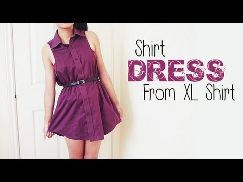 Diy shirt dress from men 39 s shirt easy reconstruction for Easy to make t shirt dress