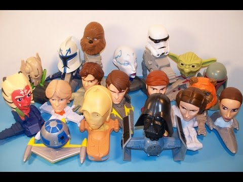 2008 McDONALD'S STAR WARS THE CLONE WARS SET OF 18 HAPPY MEAL KID'S TOY'S VIDEO REVIEW
