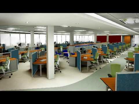 3D Interior Walkthrough Animation Of Office Open Plan