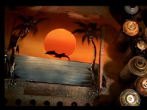 how to spray paint a sunset with dolphins spray paint art video. Black Bedroom Furniture Sets. Home Design Ideas