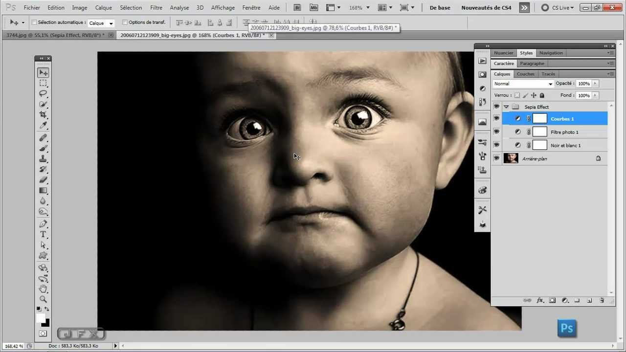 Formation photoshop cs5 cs6 sepia effect youtube for Effet miroir photoshop cs5