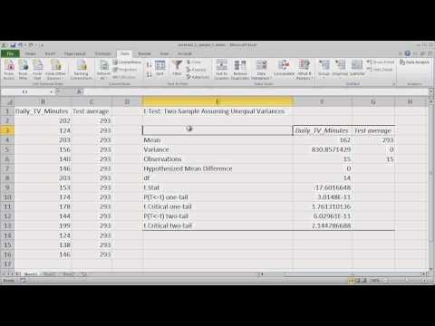 Conducting A One Sample T Test In Microsoft Excel 2010 video
