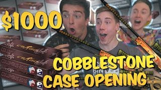 $1000 CS GO COBBLESTONE CASE OPENING with Sparkles & Mojo