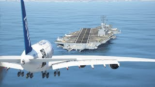 World's Heaviest A380 Emergency Landing On Aircraft Carrier | GTA 5